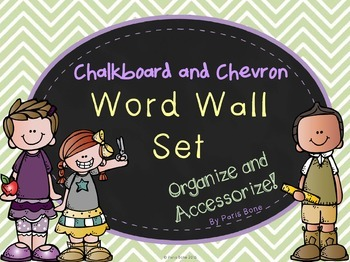 Word Wall Header Set: Chalkboard & Chevron Theme- Six Colors to Mix & Match!