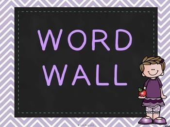 Word Wall Header Set: Chalkboard & Chevron Theme- Six Colors to Mix & Match!