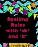 Chalkboard Chevron Spelling with ck and k rule posters