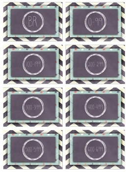 Chalkboard Chevron Teal Lexile Level Labels for Books and Book Bins, Avery 22805