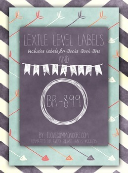 Chalkboard Chevron Teal Lexile Level Labels for Books and