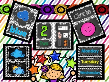 Chalkboard Chevron Theme Classroom Decoration Pack
