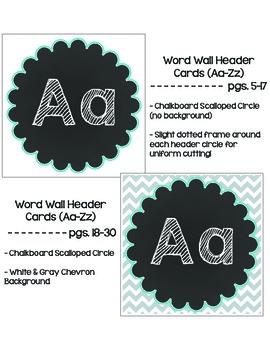 Chalkboard Chevron Word Wall Bundle: Black and White
