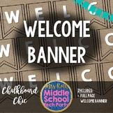 Chalkboard Chic Burlap Welcome Banner
