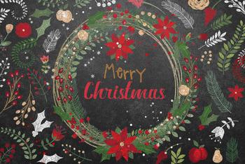 Chalkboard Christmas Botanicals Clipart, Blackboard Floral Wreath Clip art