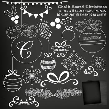 Chalkboard Christmas Digital Clip Art Set with Bonus Papers