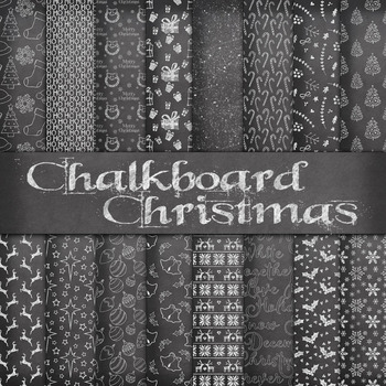 Chalkboard Christmas Digital Paper Pack - 16 Different Pap