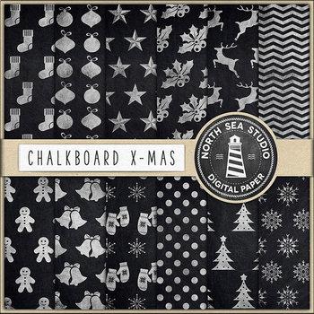 Chalkboard Christmas Digital Paper, X-Mas Patterns