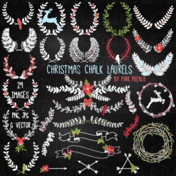 Chalkboard Christmas Laurel Wreaths Clipart Clip Art - Commercial & Personal Use