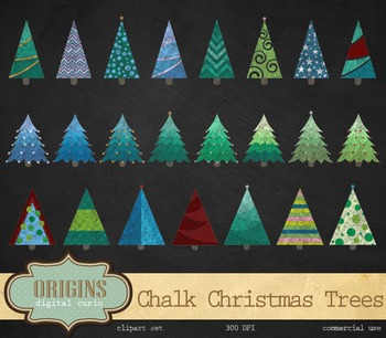 Chalkboard Christmas Trees Clipart