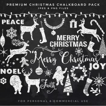 Chalkboard Christmas clipart - chalk clip art chalk doodles Santa reindeer deer
