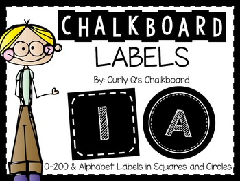 Chalkboard Circle and Square Organizing Alphabet and 0-200 Labels