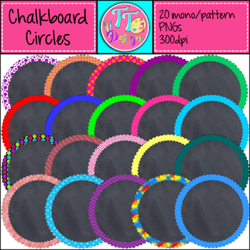 Chalkboard Circles Tags Labels Clip Art CU OK