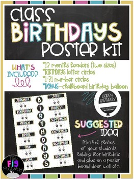Chalkboard Class Birthdays Poster Kit