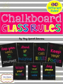 Chalkboard Class Rules Posters