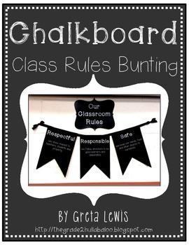Chalkboard Classroom Rules Bunting