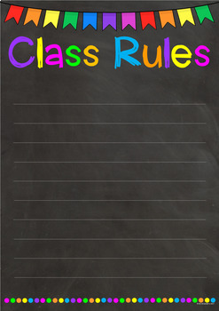 Chalkboard Class Rules Poster **Editable