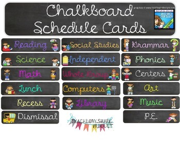 Chalkboard Class Schedule Cards with Clipart