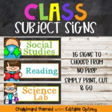 Chalkboard Class Subject Signs {Chalk Themed}