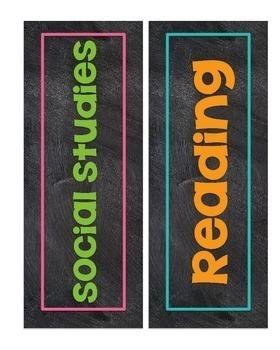 Chalkboard Class Subject Signs {Chalk Themed}