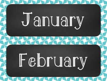 Star Chalkboard Classroom Calendar Set 9 Colors Blue Green Red