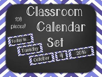 Chalkboard Classroom Calendar Set { Purple Bold Chevron }