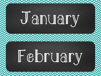 Chalkboard Classroom Calendar Set { Turquoise Chevron }