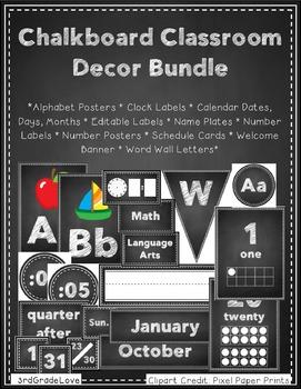 Chalkboard Classroom Decor Bundle