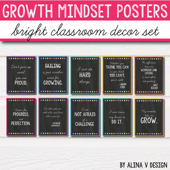 Chalkboard Classroom Decor - Growth Mindset Posters - Editable