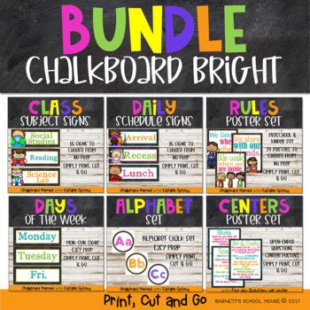 Back to School Chalkboard Decor Preschool and Kinder BUNDLE {Growing Bundle}