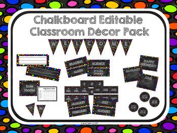 Bright Chalkboard Classroom Decor Set (Editable)