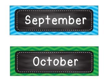 Chalkboard Classroom Decor - days, months, supplies ...bright colors chevron