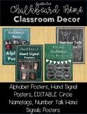 Chalkboard Theme Classroom Decor (Alphabet, Number Talk, Hand Signals, Nametags)