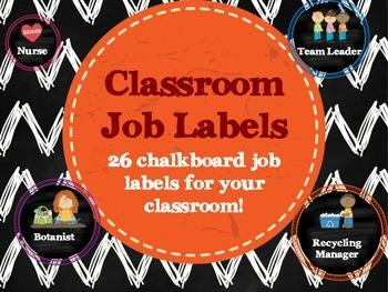 Chalkboard Classroom Job Labels