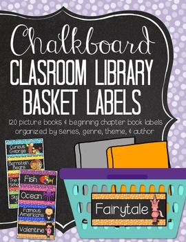 Chalkboard Classroom Library Basket Labels