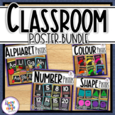 Chalkboard Classroom Posters Bundle - numbers 0-20, alphabet, shapes & colors