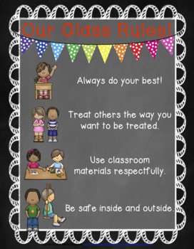 Chalkboard Classroom--Responsive Classroom Management Rules Poster FREEBIE