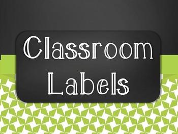 Chalkboard Classroom Supply Label Set - Green Star