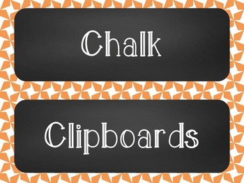 Chalkboard Classroom Supply Label Set - Orange Star