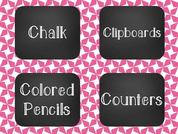 Chalkboard Classroom Supply Label Set - Pink Star