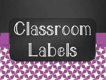 Chalkboard Classroom Supply Label Set - Purple Star