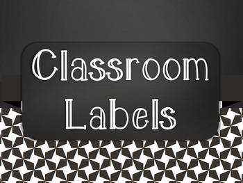 Chalkboard Classroom Supply Label Set - Black Star