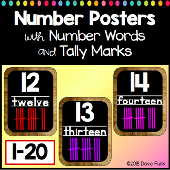 Chalkboard Classroom Theme Number Posters 1-20 Chalkboard