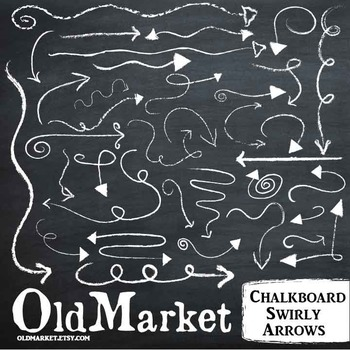 Chalkboard Clip Art-Swirly Arrows-Chalk Designs-36 PNG and Vector Images