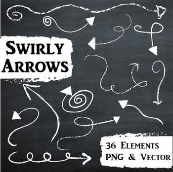 Chalkboard Clip Art-Swirly Arrows-Chalk Designs-36 PNG and