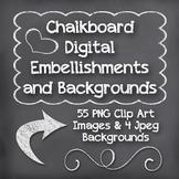 Chalkboard Clip Art - Embellishments, Frames and Chalkboard Backgrounds-3 Colors