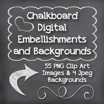 Chalkboard Clip Art - Embellishments, Frames and Chalkboard Backgrounds-3 Colors