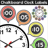 Chalkboard Theme Classroom Clock Labels & Telling Time Worksheets