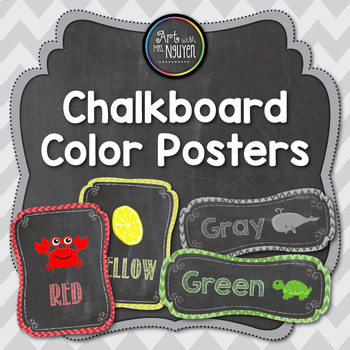 Chevron Chalkboard Color Identification Printable Poster Set