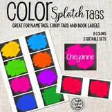 Chalkboard Color Splotch Cubby Tags, Name Tags and Coat Hooks